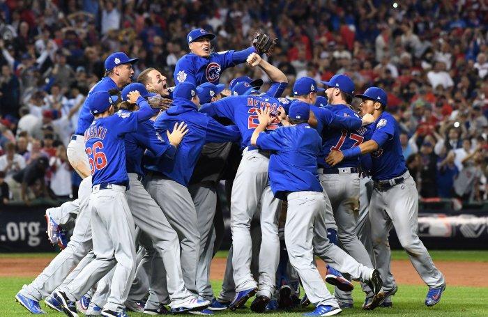Image result for 2016 world series cubs win celebration