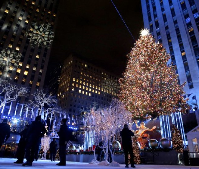 Center Christmas Tree Is Lit For The First Time This Season After The Th Annual Christmas Tree Lighting Ceremony At Rockefeller Center In New York