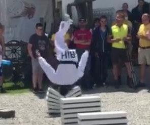 Teenage taekwondo master flips for concrete-breaking record