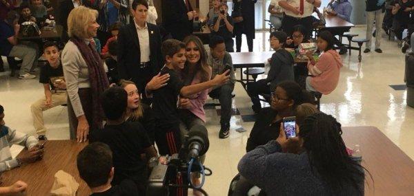 Melania Trump makes surprise visit to Detroit school - UPI.com