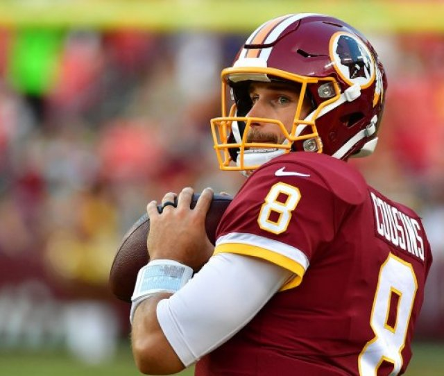 Washington Redskins Quarterback Kirk Cousins Throws In Warm Ups Before The Redskins Pre Season Game Against The Green Bay Packers At Fedex Field In Landover