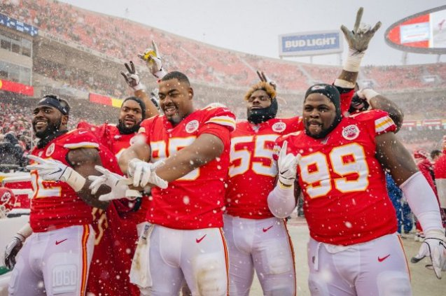 Kansas City Chiefs players celebrate after defeating the Denver Broncos on Sunday at Arrowhead Stadium in Kansas City, Missouri. Photo by Kyle Rivas/UPI