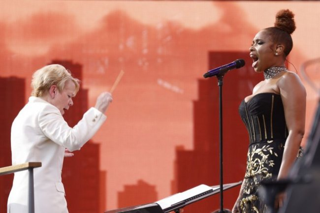 Marin Alsop conducts the New York Philharmonic while Jennifer Hudson performs at the We Love NYC: The Homecoming Concert In Central Park in New York City on Saturday. Photo by John Angelillo/UPI