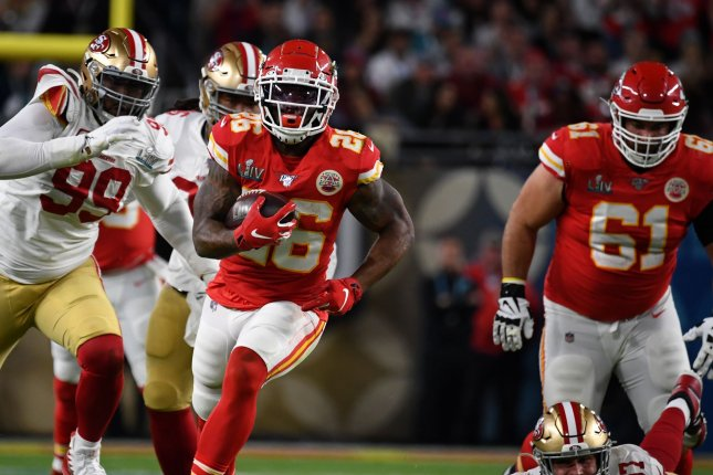 Kansas City Chiefs running back Damien Williams (26), who helped lead the Chiefs to a win over the San Francisco 49ers in February's Super Bowl LIV, becomes the second starter from last year's team to sit out this season. File Photo by Kevin Dietsch/UPI