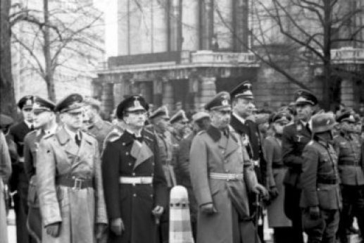 German officers stand before Oslo's National Theater in 1940 after taking control of Norway during World War II. On June 10, 1940, Norway surrendered to Germany during World War II, with King Haakon and members of the government fleeing to Britain. File Photo by Willi Ruge/German Federal Archives