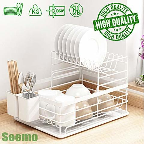 buy dish drying stand bowl storage rack plate organizer utensil holder for kitchen countertop large capacity antibacterial stylish white online shop