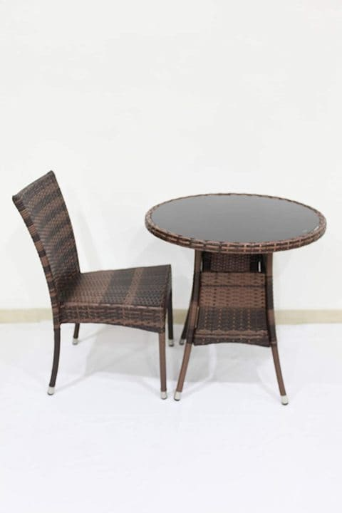 buy ex outdoor furniture rattan 2 pieces chairs and 1 round table 70cm wfs 001 online shop home garden on carrefour uae
