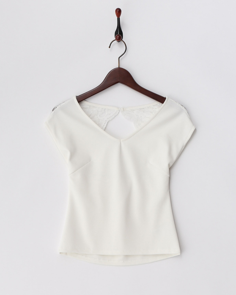 Royal Party Off White Lace Placed Back Open Cut Tops
