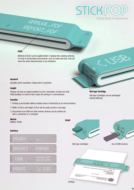 Stick POP portable printer concept