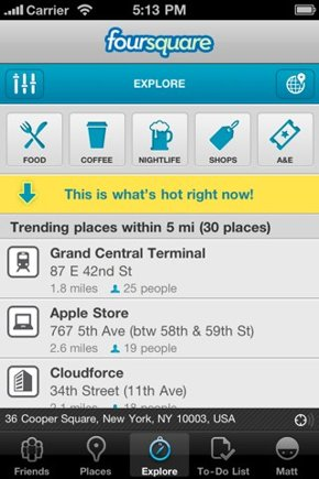 Foursquare Explore tab