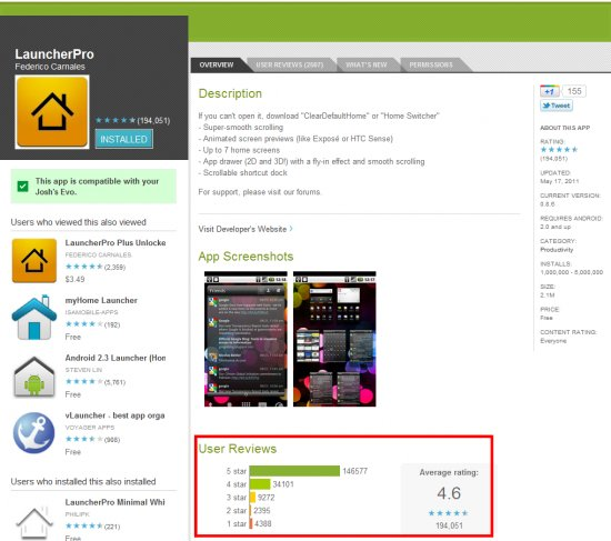 Android Market ratings