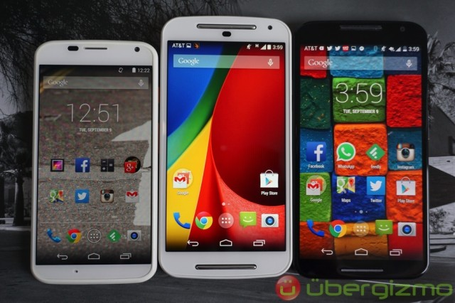 """Left to right: 4.7"""" Moto X (2013) with 720p, 5"""" Moto G (2014) with 720p, and 5.2"""" Moto X (2014) with 1080p"""