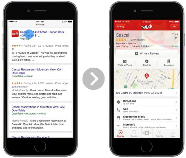 google app indexing safari