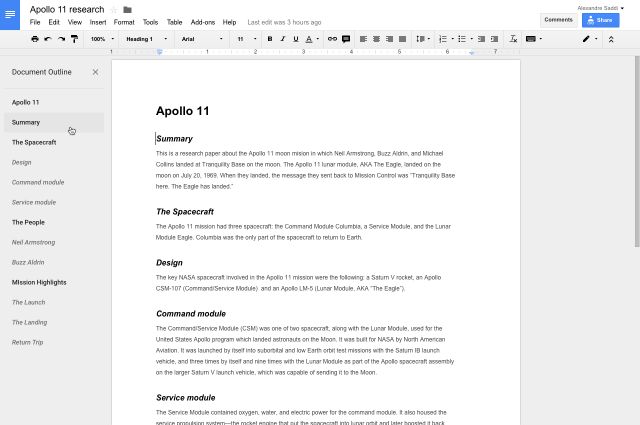 Google Docs Gets Outline Tool | Ubergizmo