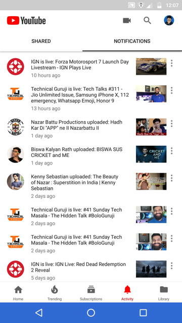 YouTube Testing New 'Activity' Tab In Its Android App