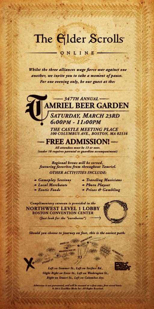 Bethesda's Tamriel Beer Garden Invitation
