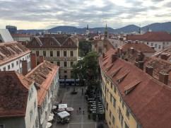 O que fazer em Graz. Vista do alto do castelo de Graz, Áustria