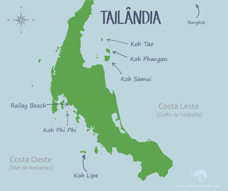 Mapa com as melhores praias da Tailândia   viajando na janela