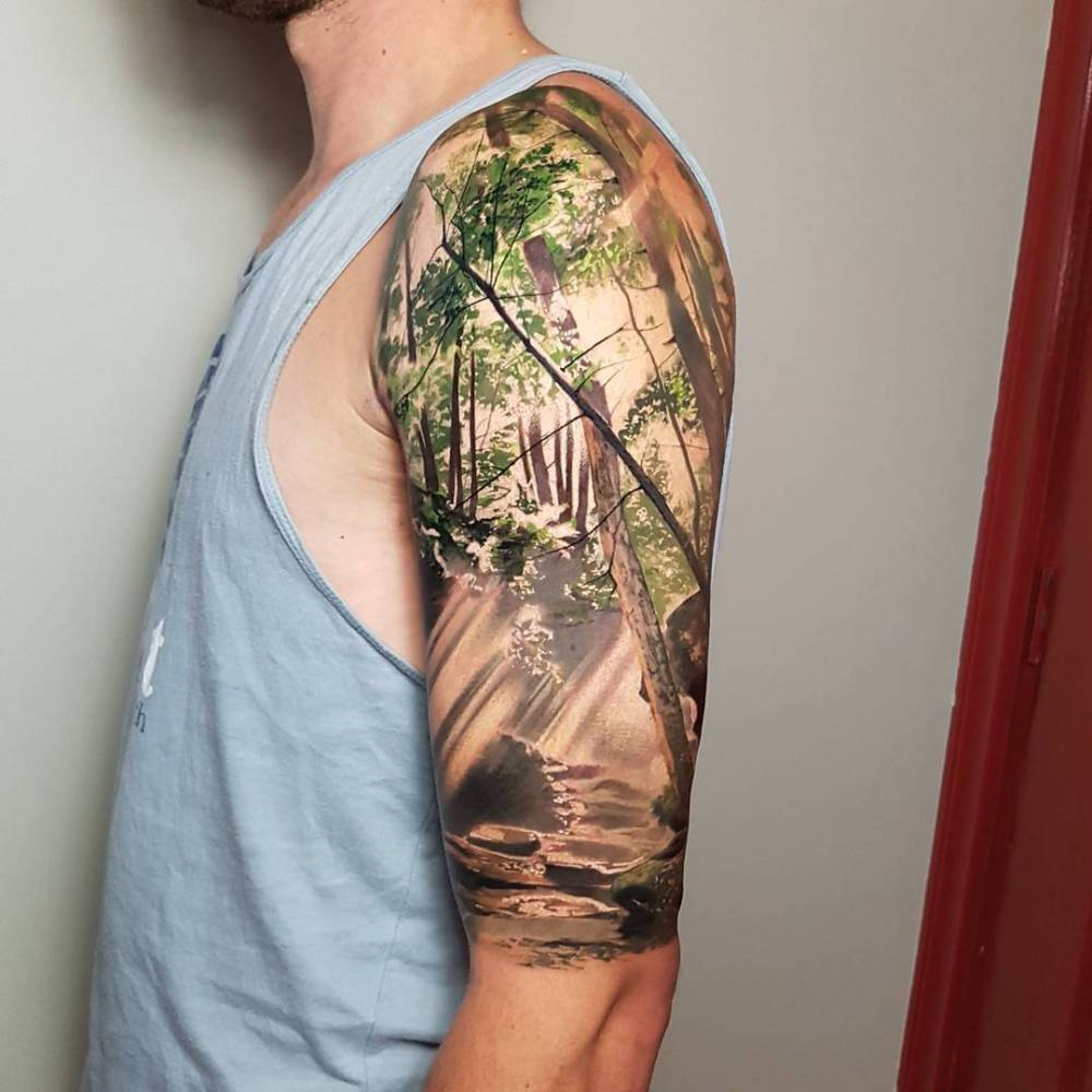 © frédéric forest 2020 all rights reserved faq; Realistic Forest Tattoo On The Left Upper Arm
