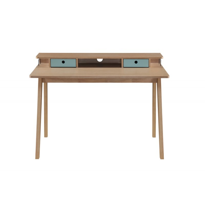 bureau design scandinave flavie en bois chene clair bleu image