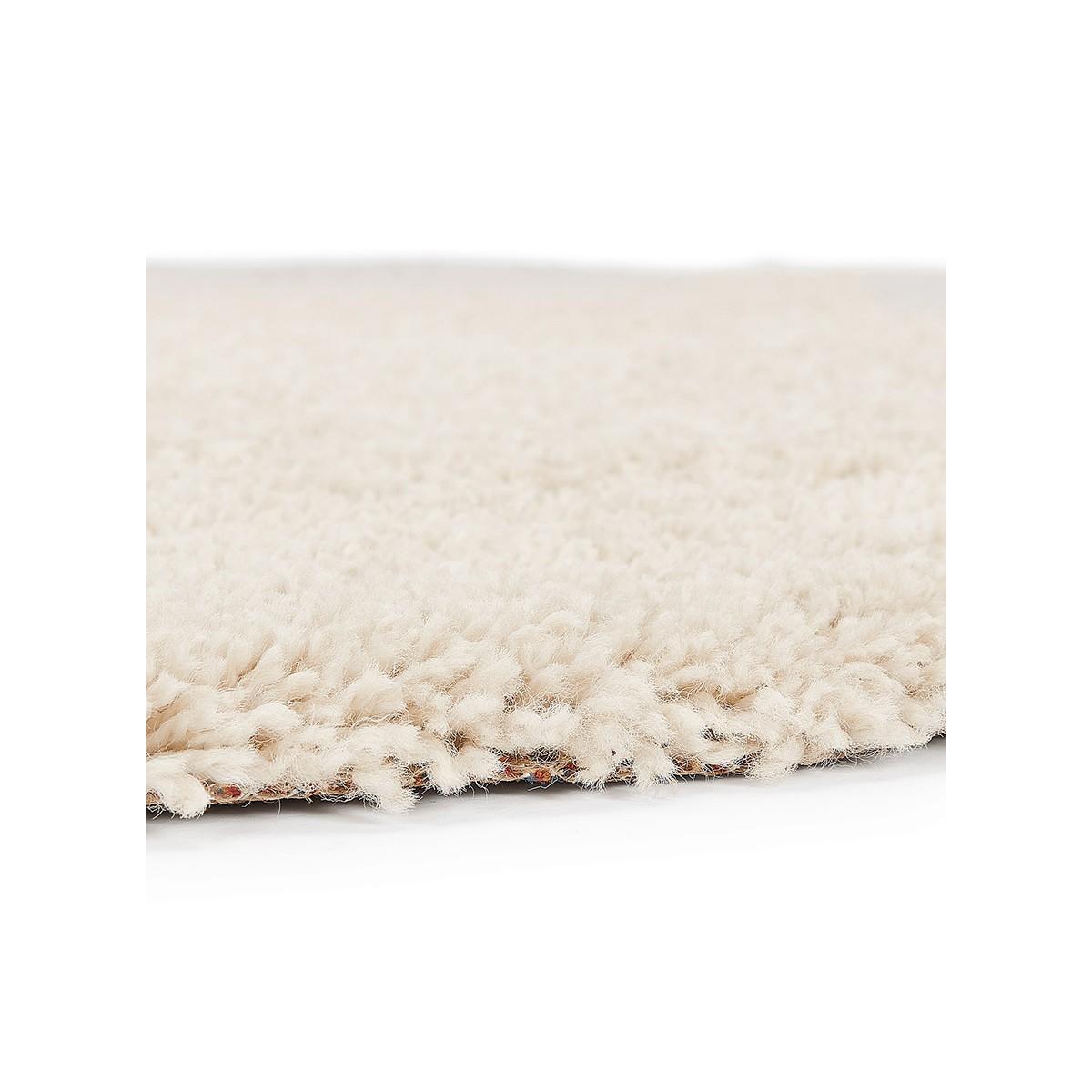 superbe tapis rond beige a poils doux