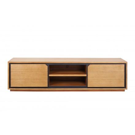 meuble tv en teck massif 2 portes 2 niches jenna 200 cm naturel