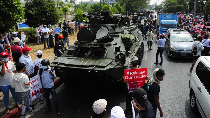 Myanmar deploys military tanks amid anti-coup protests