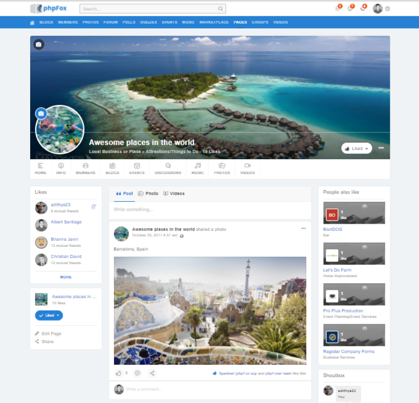 Page Activity Feeds