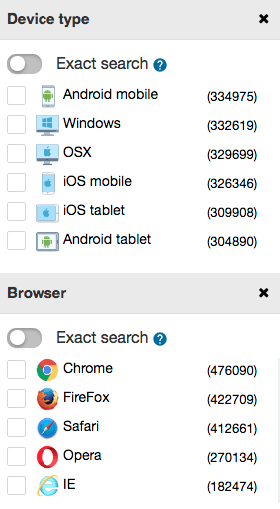 filter by device type and browser on spyover