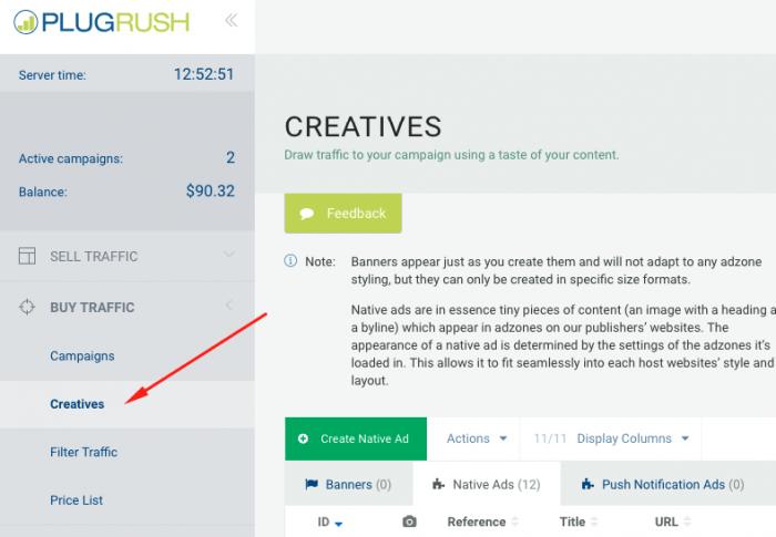 add creatives on plugrush