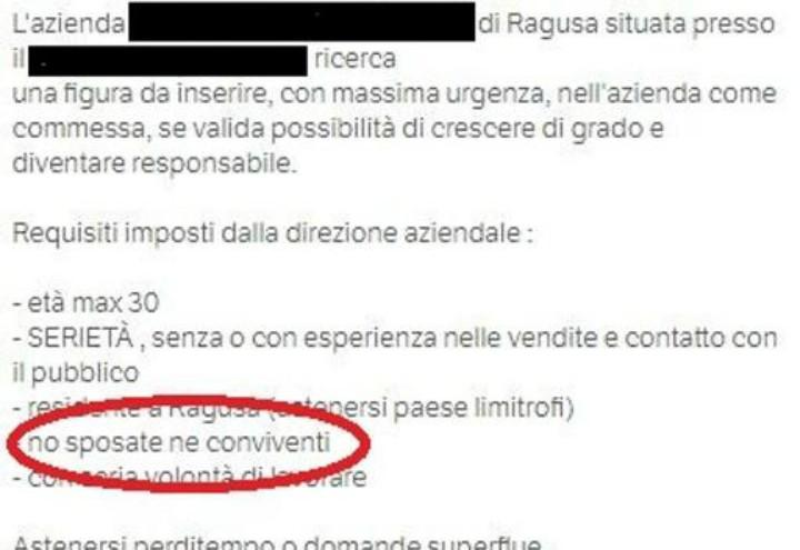 Cercasi Commesse Single Ragusa Annuncio Di Lavoro Choc