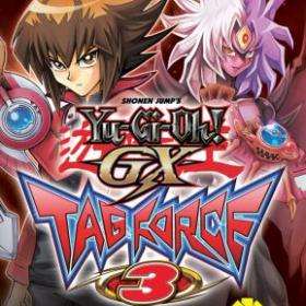 The cover art of the game Yu-Gi-Oh! GX Tag Force 3.