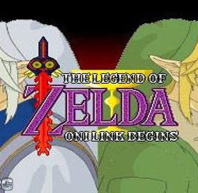 The cover art of the game Zelda: Oni Link Begins.
