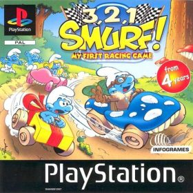 The cover art of the game 3, 2, 1, Smurf! My First Racing Game.