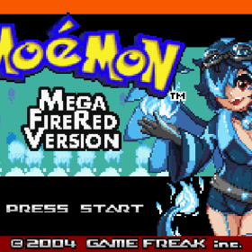 The cover art of the game Mega Moemon Fire Red (Hack).