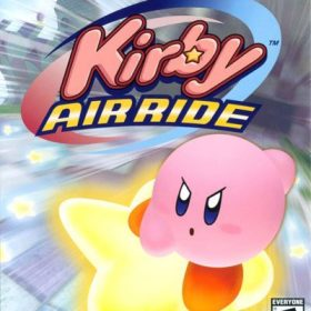 The cover art of the game Kirby Air Ride.