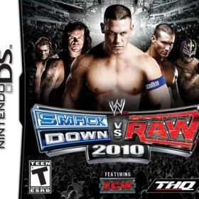 The cover art of the game WWE Smackdown vs RAW 2010.