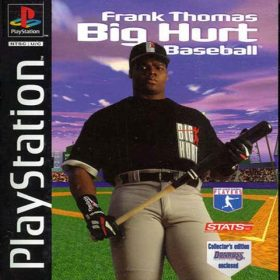 The cover art of the game Frank Thomas Big Hurt Baseball.