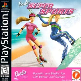 The cover art of the game Barbie Super Sports.