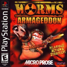 The cover art of the game Worms Armageddon.
