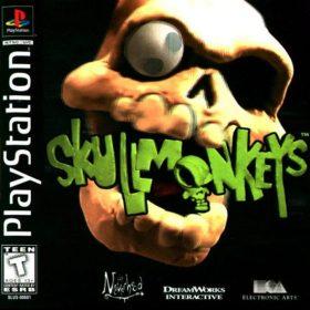 The cover art of the game Skullmonkeys.