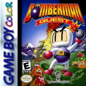 The cover art of the game Bomberman Quest.