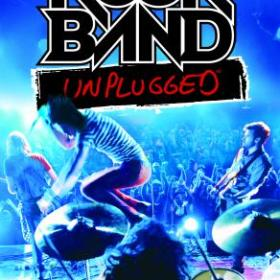 The cover art of the game Rock Band Unplugged.