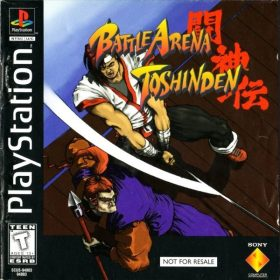 The cover art of the game Battle Arena Toshinden.