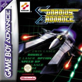 The cover art of the game Gradius Advance .