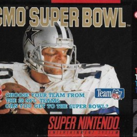 The cover art of the game Tecmo Super Bowl.