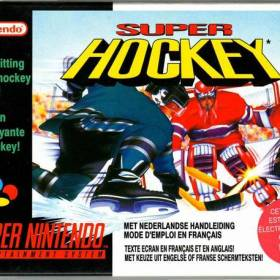 The cover art of the game Super Hockey.