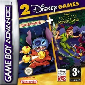 The cover art of the game 2 in 1 - Peter Pan Return to Neverland & Lilo and Stitch 2 .