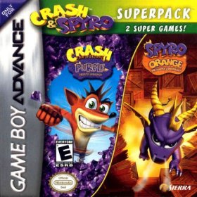 The cover art of the game 2 in 1 - Crash Bandicoot Purple - Ripto's Rampage & Spyro Orange - The Cortex Conspiracy.