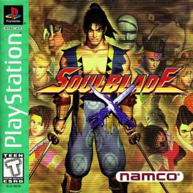 The cover art of the game Soul Blade (USA).